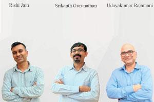 Rishi Jain, CEO, Srikanth Gurunathan, CTO and Udayakumar Rajamani, CPO, IntelligentEnterprise.ai